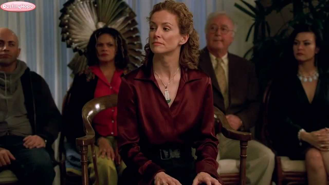 Leslie Hope: The Mentalist 1x07 Seeing Red (Maroon Satin Blouse) Clip 2