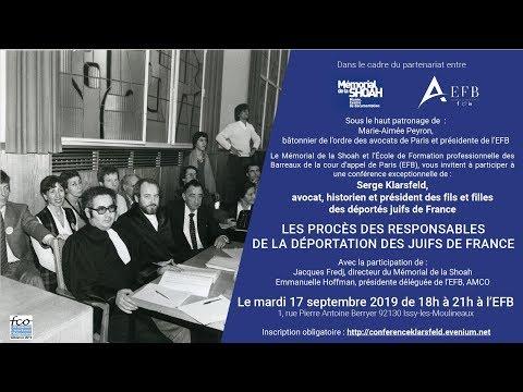 Conférence De M. Serge Klarsfeld à L'EFB Le 17 Septembre 2019