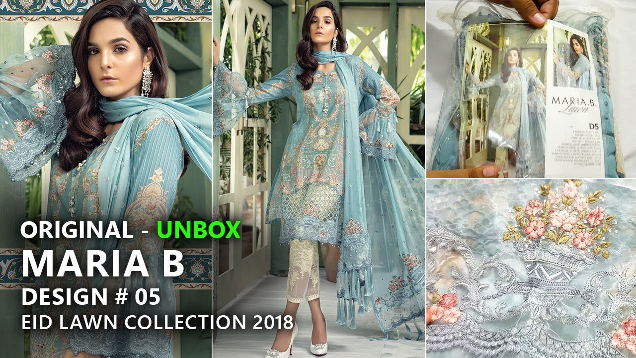 3148f38bb6 Maria B Eid Collection 2018 - Unbox Lawn D05 Blue- Pakistani Branded  Dresses by Sara Clothes