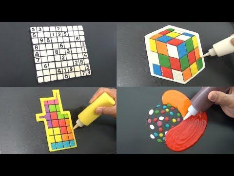 Incredible Puzzle Pancake Art - Rubiks Cube, Sudoku, Tetris, Candy Crush | Relaxing and Calming