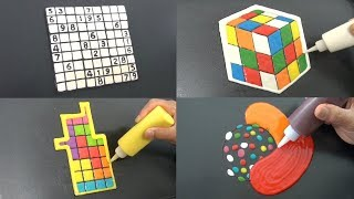 Incredible Puzzle Pancake Art - Rubiks Cube, Sudoku, Tetris, Candy Crush | Relaxing and Calming