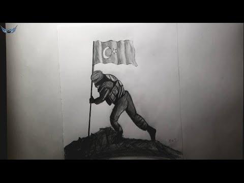 Karakalem Bayrak Diken Asker Cizimi Youtube