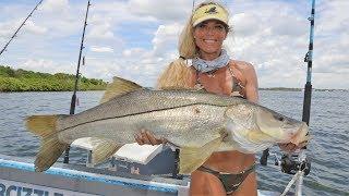 Florida Girl Fishing for MONSTER Snook & Sailfish
