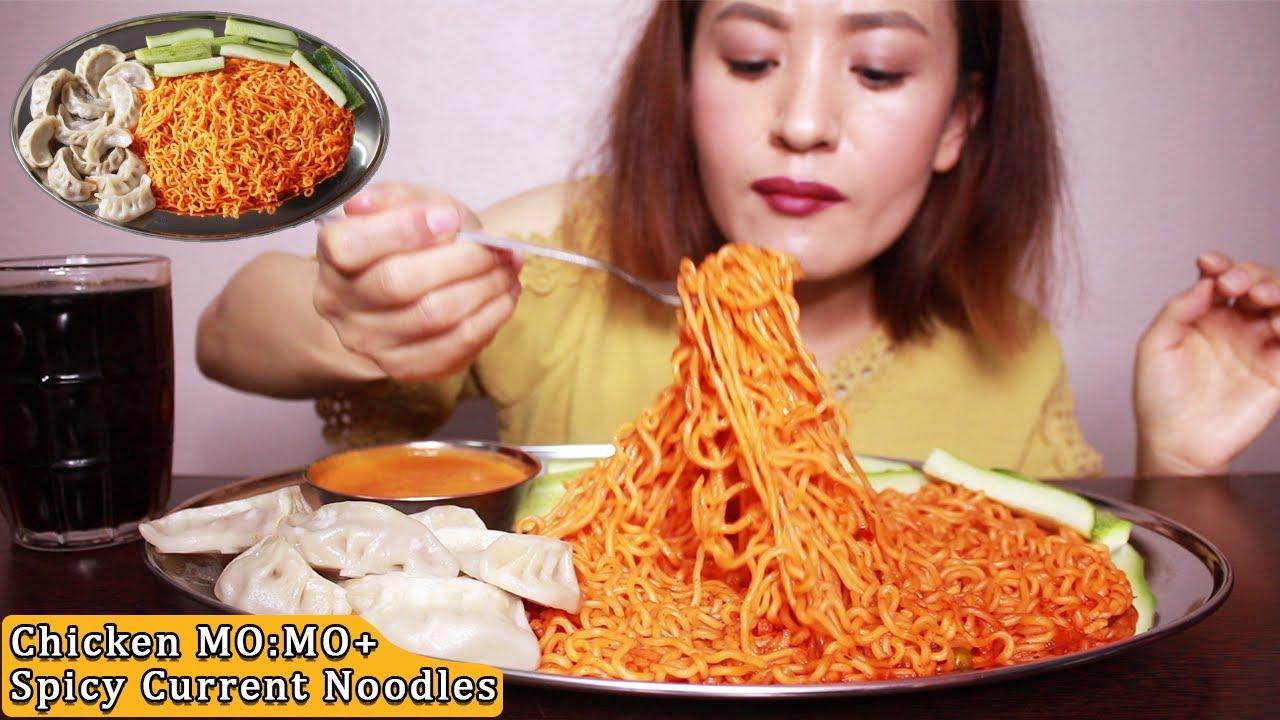 Download Mukbang: Chicken MO:MO and Spicy CURRENT Noodles (x2) (चिकेन मम र करेन्ट नुडल्स्) #NEPALIFOOD #ASMR
