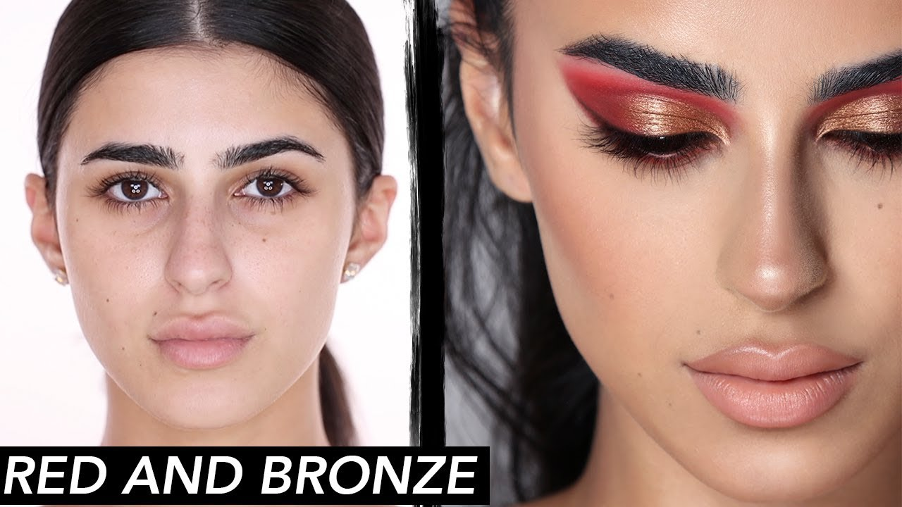 Red and Bronze Makeup Tutorial  | Hindash