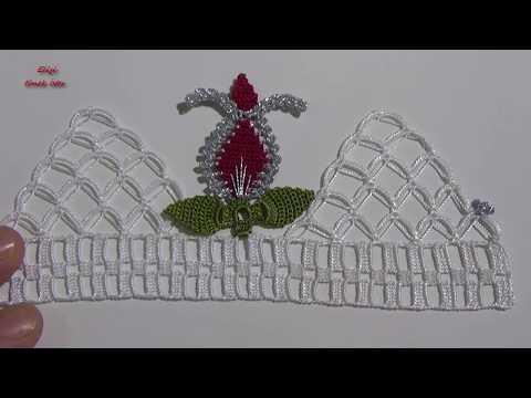 İĞNEden Tığa LALELİ Havlu Kenarı Modeli (çeyiz için)