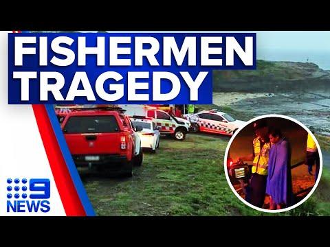 Two dead after fishermen swept off rocks at Port Kembla | 9 News Australia