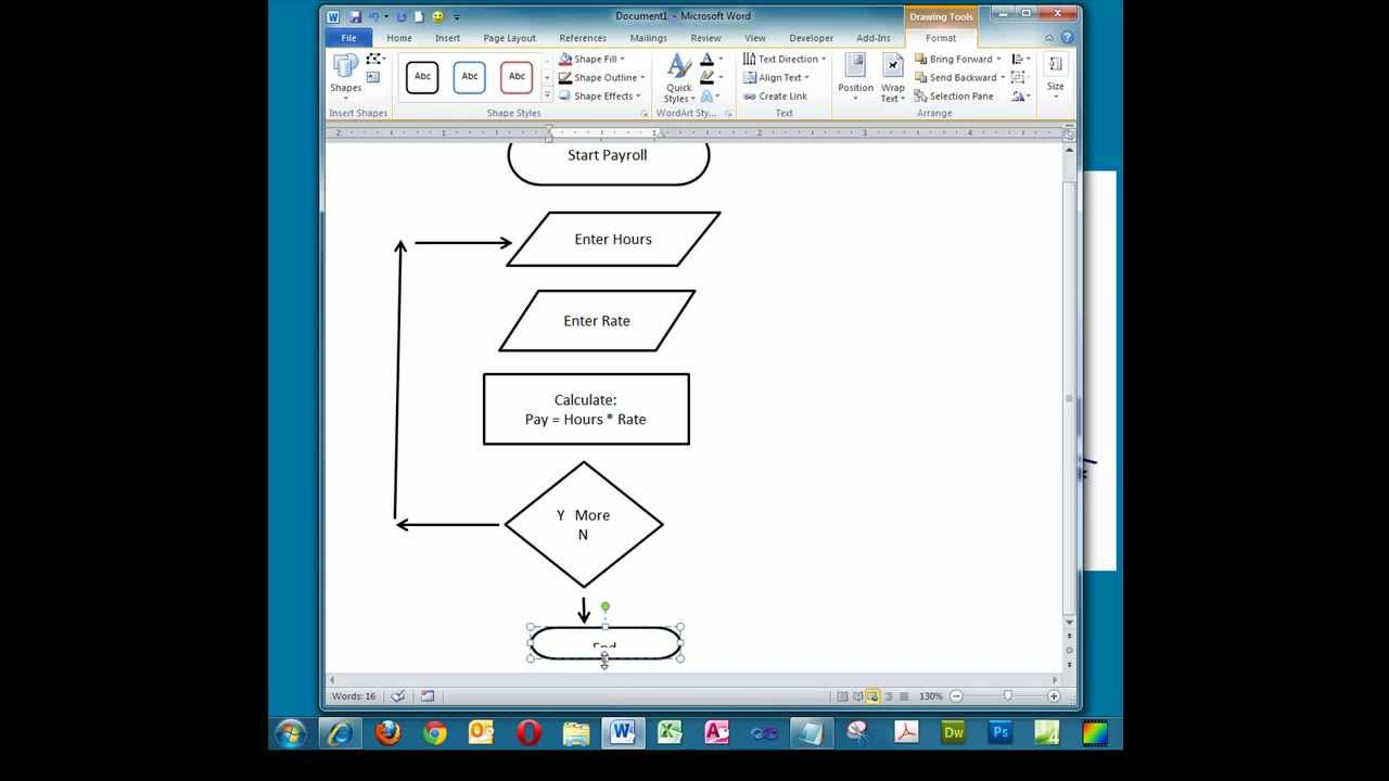 Creating A Simple Flowchart In Microsoft Word Youtube