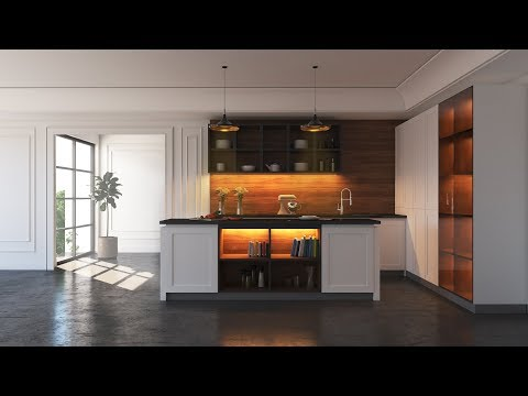 Modern Kitchen Modeling Rendering Tutorial Vray 3dsMAX
