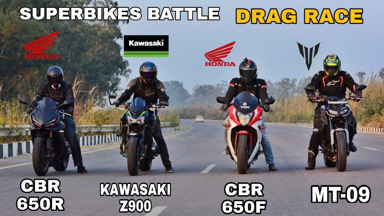 Kawasaki Z900 Vs Honda CBR 650R Vs Yamaha MT-09 Vs Honda CBR 650F   Drag Race   Superbikes Battle
