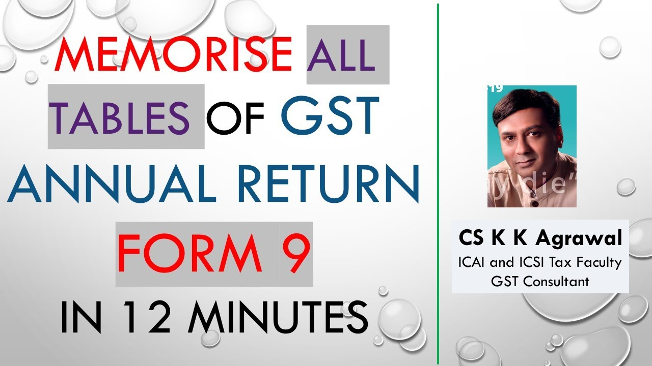 memorise all tables of gst annual return form 9 in 12 minutes youtube