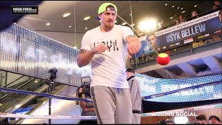 OLEKSANDR USYK DAZZLES WITH TENNIS BALL TRICKS AT WORKOUT FOR TONY BELLEW FIGHT