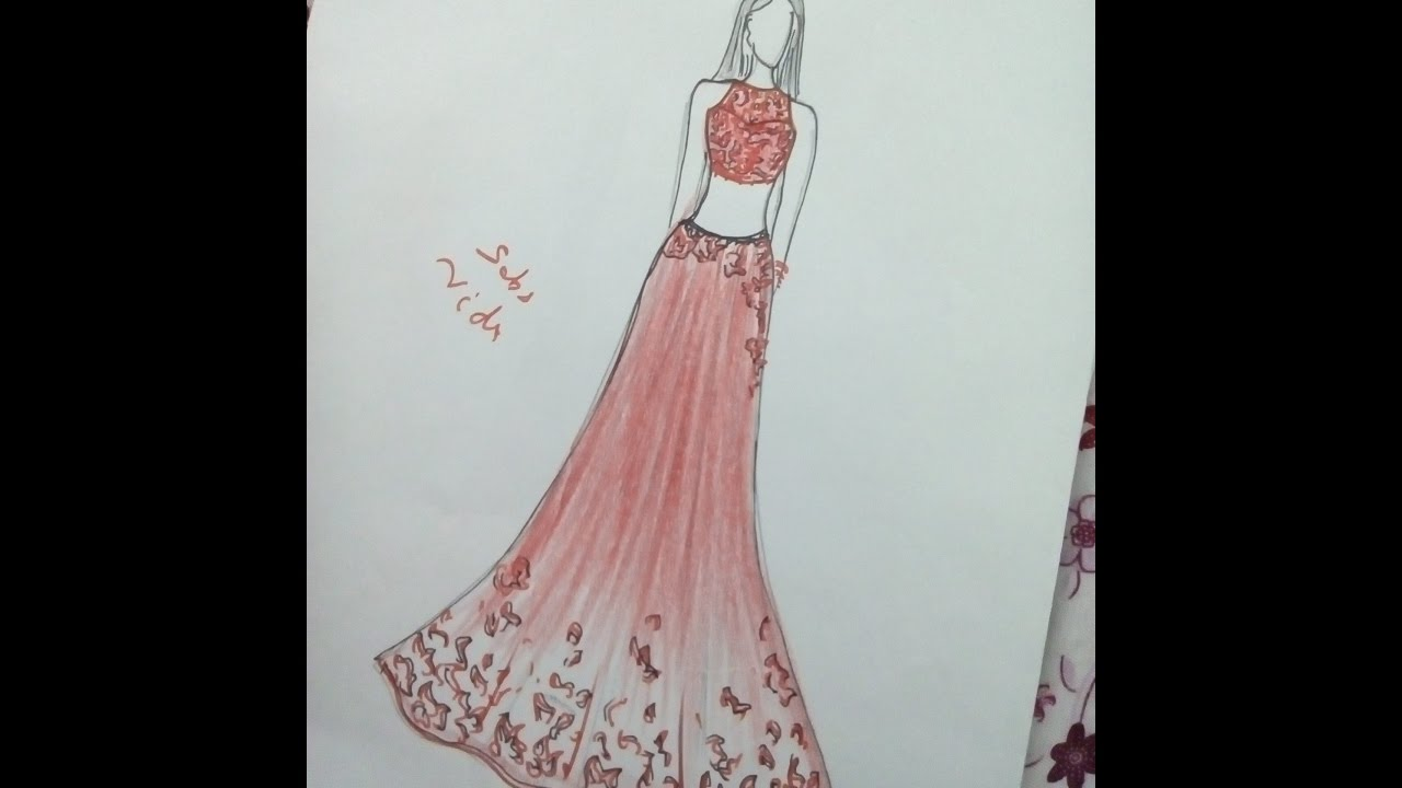 How To Draw Indian Wedding Dress.Chiffon Dress.
