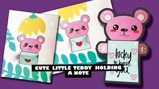 DIY Cute little teddy bear holding a note easy handmade greeting cards