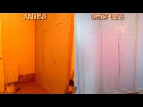 Como restaurar y pintar un armario y mueble escritorio - Pintar armario de madera ...