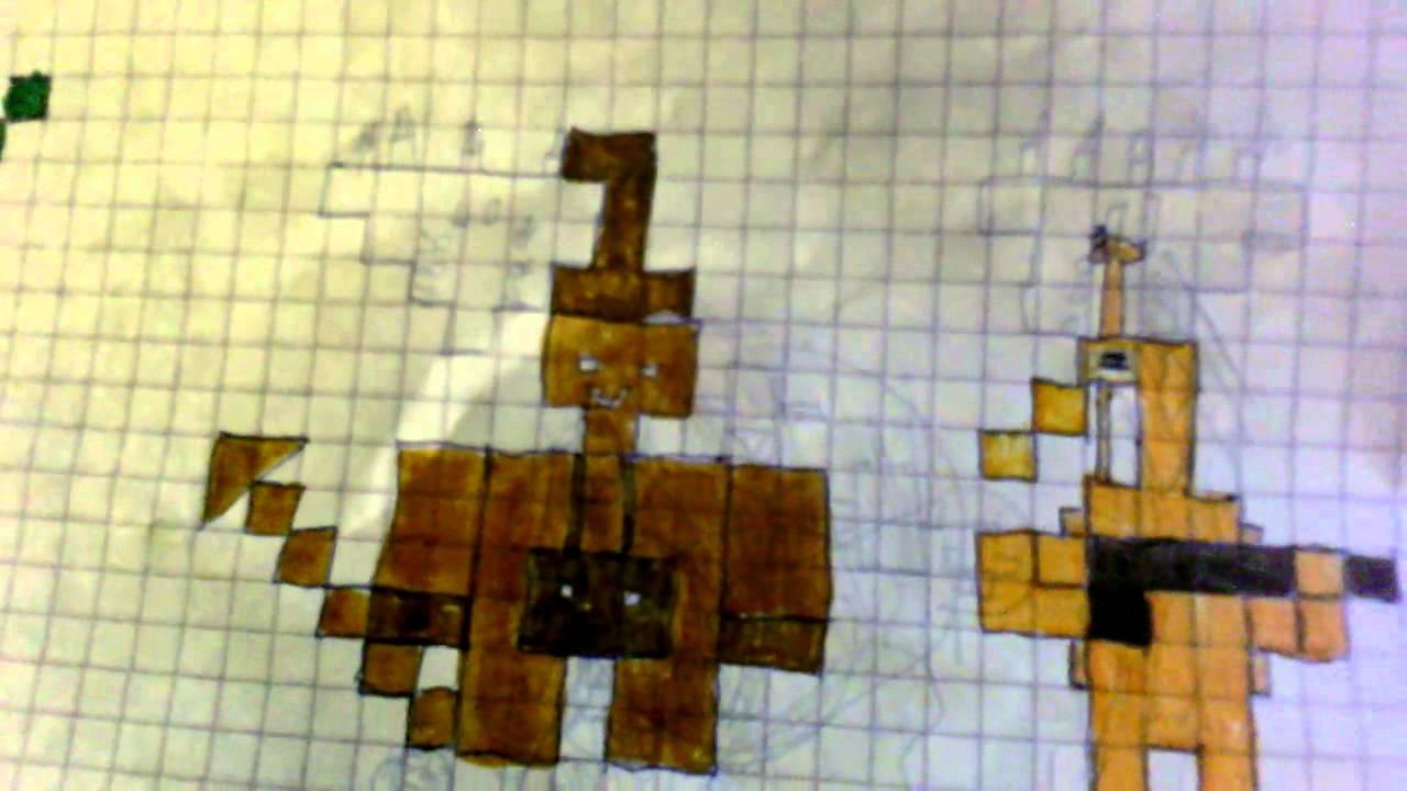 Dessin minecraft sur feuille carreaux youtube for Feuille a carreaux