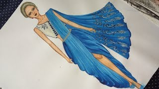 How to draw Dhoti saree #15