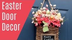 DIY Front Door EASTER DECOR floral Hanging Basket Wreath