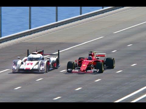Ferrari F1 2017 vs Audi R18 - TOP SPEED BATTLE