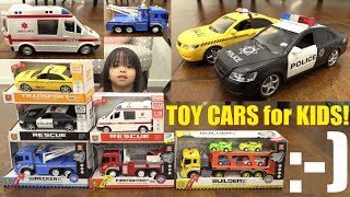 Friction Powered TOY CARS Unboxing. Toy Car Playtime! Tow Truck, Ambulance, Taxi, Police Car, etc..