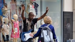 Busker Hassled by Lady in Liverpool Centre  Watch the people of Liverpool support him at the end.