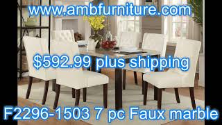 Poundex F2296-1503 7 pc Marleen espresso finish wood marble top dining table set