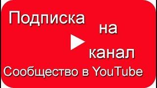 Вкладка сообщество в YouTube, подписка на канал
