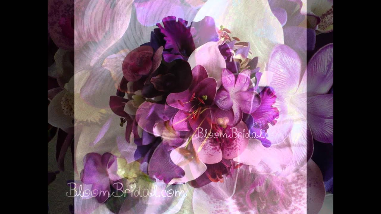 Purple real touch flowers wedding bouquets youtube purple real touch flowers wedding bouquets izmirmasajfo