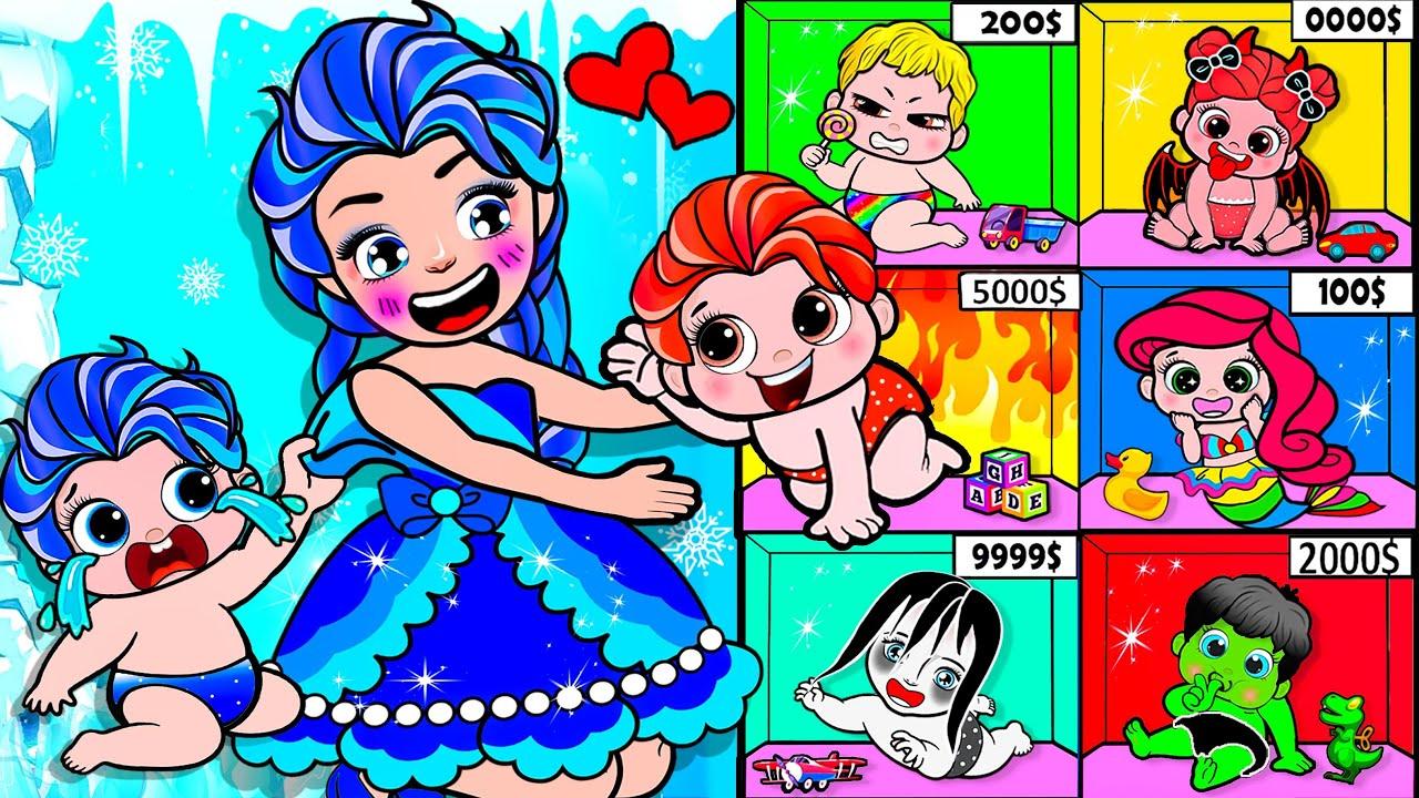 Paper Dolls Dress Up - Elsa Fire & Ice Sister vs Candy Machine Dress - Barbie Story & Crafts