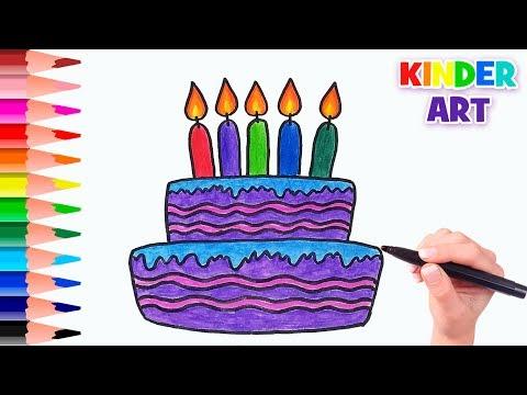 Как нарисовать торт на день рождения   How To Draw A Birthday Cake