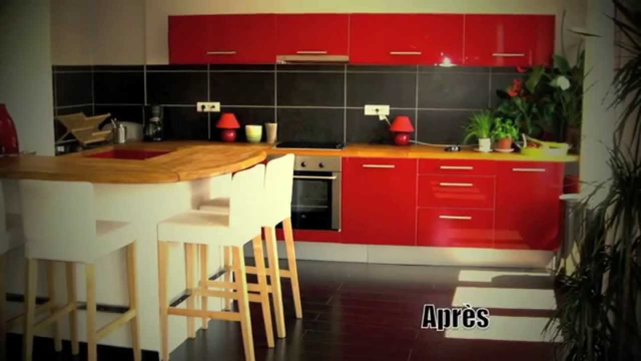 Cuisine ikea rouge dessin sketchup et pose youtube for Cuisine americaine rouge