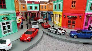 トミカタウンと違う街づくりが楽しいRMZ City アウディ、ポルシェ、トヨタ、ランドローバー、BMWのミニカーとショップジオラマを大量開封!