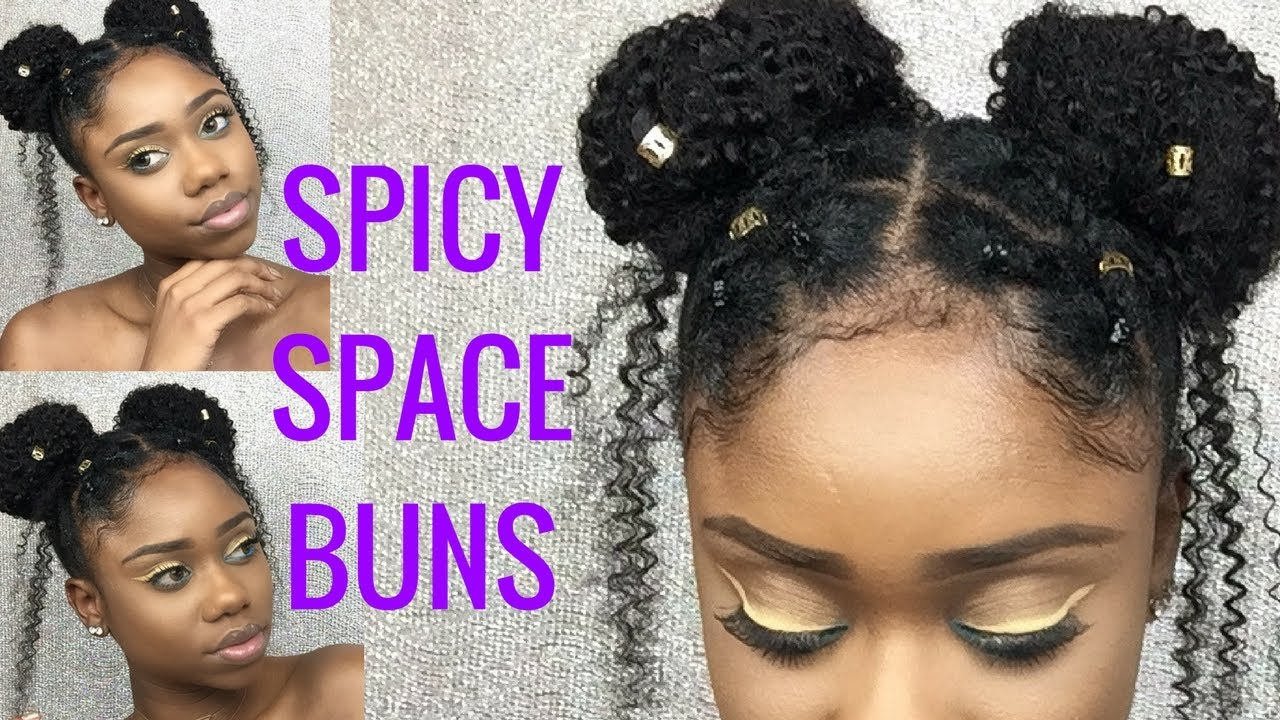 cute hairstyle for short 4c/b/a natural hair || spicy space buns || better lengths clip-ins