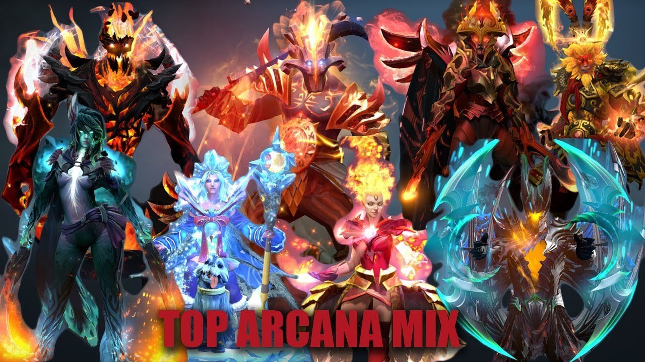 DOTA 2 TOP ARCANA WITH MIX SET EXPENSIVE SET GOLDEN ITEMS RARE ITEMS YouTube