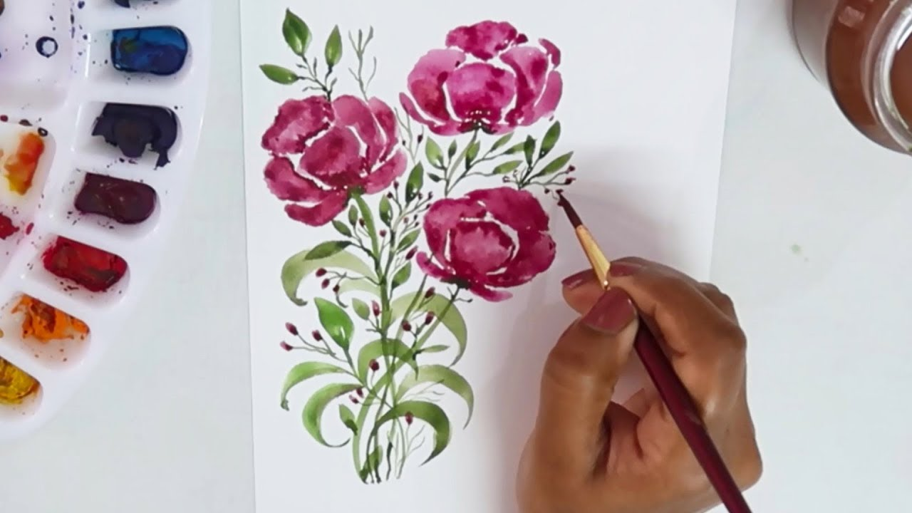 Watercolor Flowers And Paint Brushes: Painting Flowers Using Camlin Round Brush