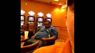 Big dude sleeping at casino