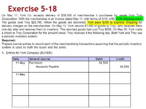 Merchandising Transactions Entries Buyer and Seller Exercise 5-18
