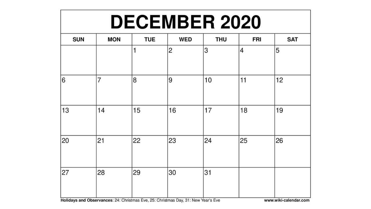 Free Printable December 2020 Calendar - Wiki-Calendar.Com