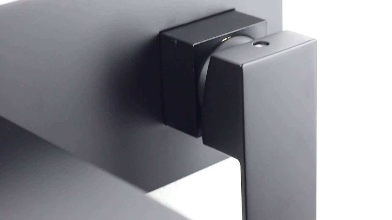 Matt Black Brass Square wall mounted bath mixer spout basin sink ...