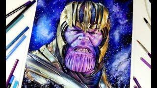 Drawing Thanos - Endgame【Aquarela /Watercolor Speedpaint】