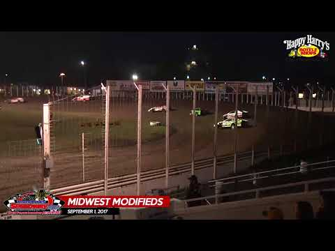 Happy Harry's Midwest Modified Highlights - River Cities Speedway - September 1, 2017