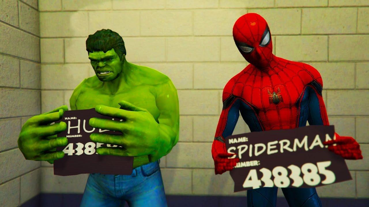 Халк и Человек-паук посадили в тюрьму. Забавный мультфильм ...