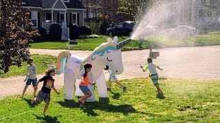 You Know What's Better Than a Pool? A Sprinkler — Shaped Like a Unicorn!