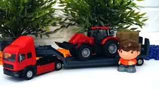 Игрушечный трактор и транспортер. Видео для детей с игрушками(Распаковываем коробку с игрушечным транспортером и трактором. Это грузовые машины, которые понравятся..., 2016-12-09T03:00:00.000Z)