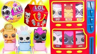 LOL Surprise Dolls Wave 2 Pets Vending Machine + Lil Sisters Visit McDonalds Happy Meal Drive Thru
