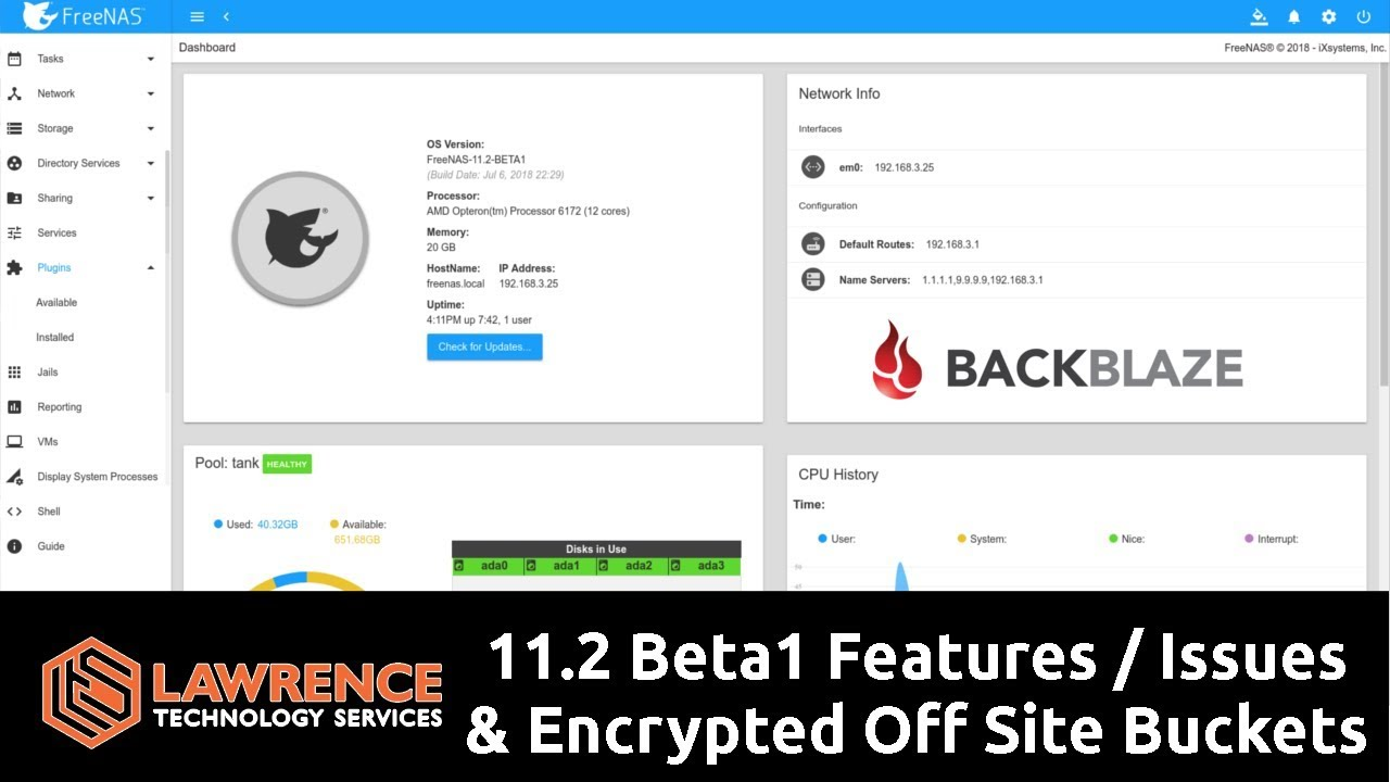 FreeNAS 11 2 Beta1 Mini Review: iocage / iSCSI / plugins / and encrypted  BackBlaze Cloud Backup Test