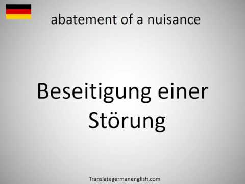 How to say abatement of a nuisance in German?
