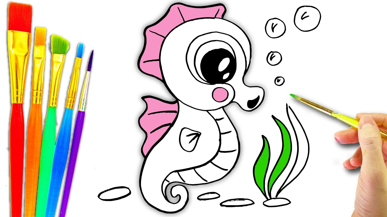 Sea Animals Coloring Page L Aquarium Drawing Pages To Color For Kids How Draw Seahorse