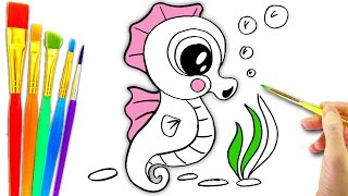 Sea Animals Coloring Page l Aquarium Animals Drawing Pages to Color For Kids l  how to draw Seahorse