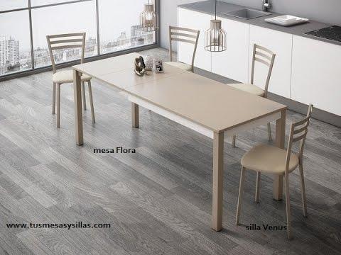 Mesa de cocina moderna Flora extensible - YouTube
